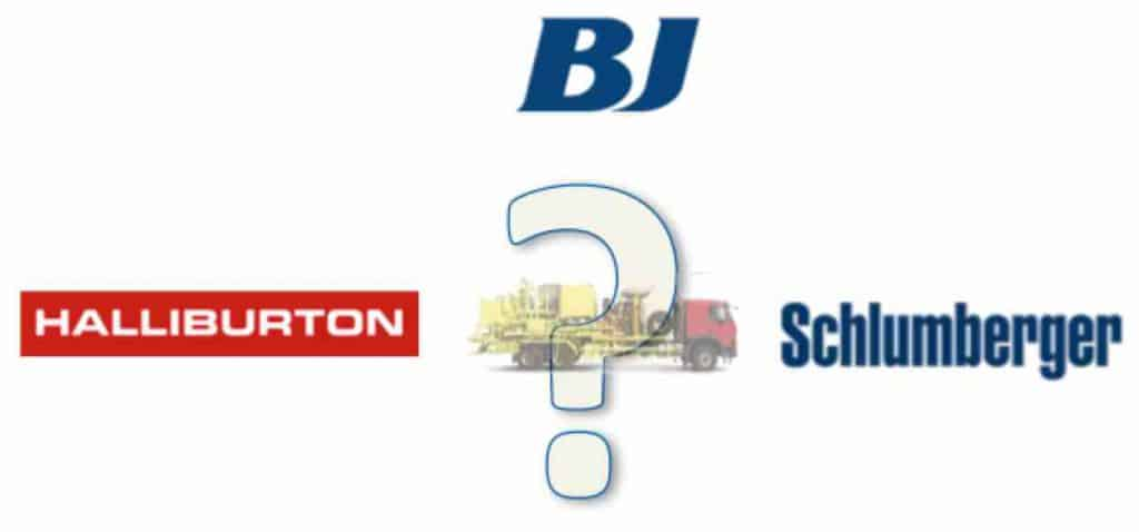 Halliburton, Schlumberger and BJ, the main cement unit manufacturers.