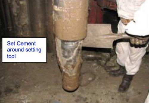 cement slurry contamination around liner tool